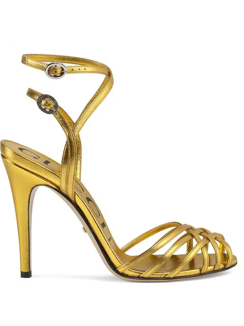 Gucci Metallic Leather Sandals In 8016 Gold