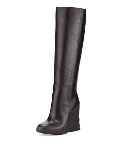 58389016e37 Prada Leather Knee-High Wedge Boots In Black