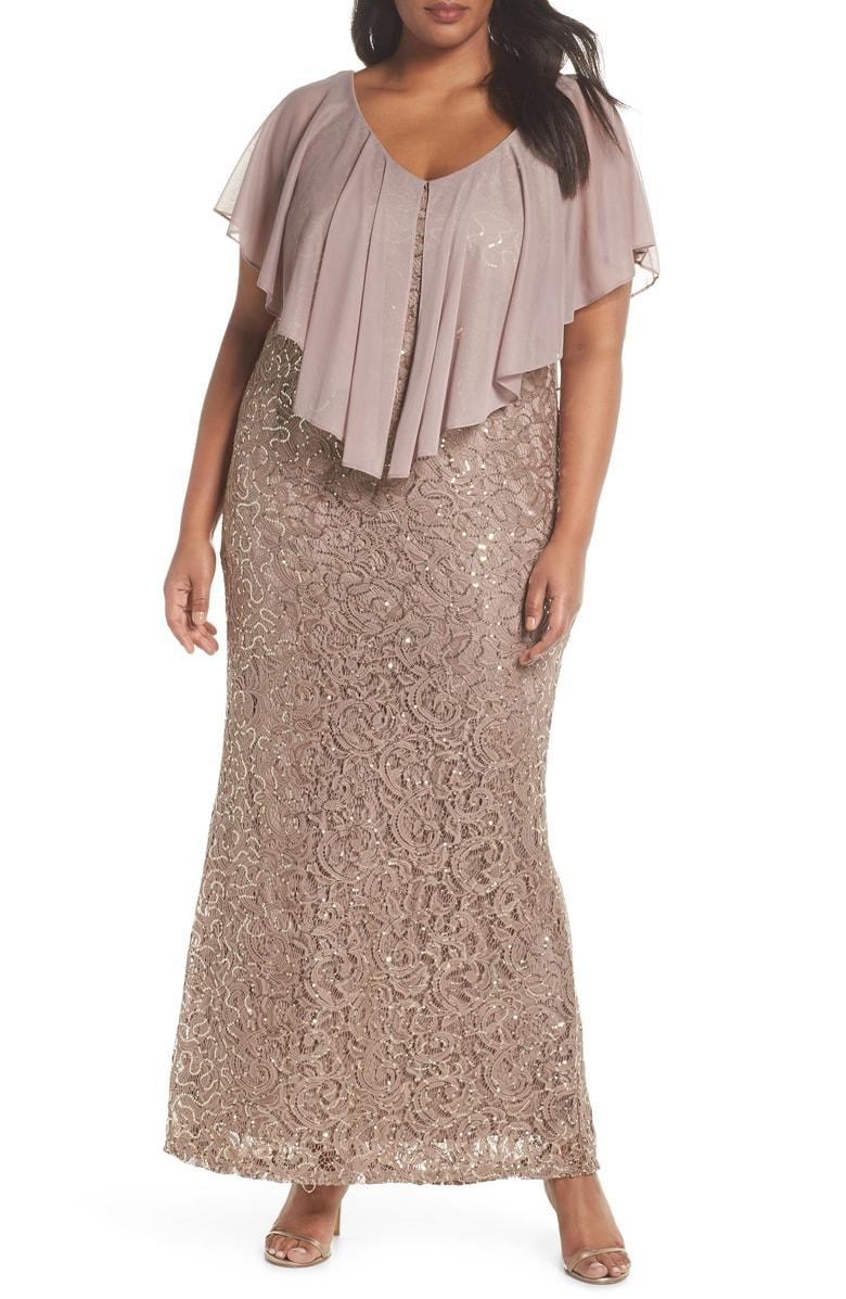 883d7c103018 Marina Capelet Sequin Lace A-Line Gown In Mocha | ModeSens
