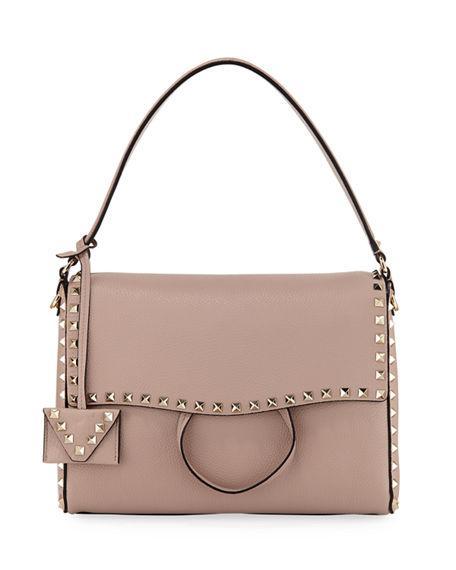 21e1880636 Valentino Medium Rockstud Leather Shoulder Bag - Beige In Poudre Beige