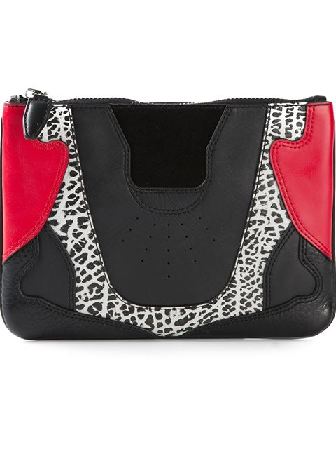 Alexander Wang Colorblock Mixed Leather Sneaker-Inspired Clutch Bag In Black