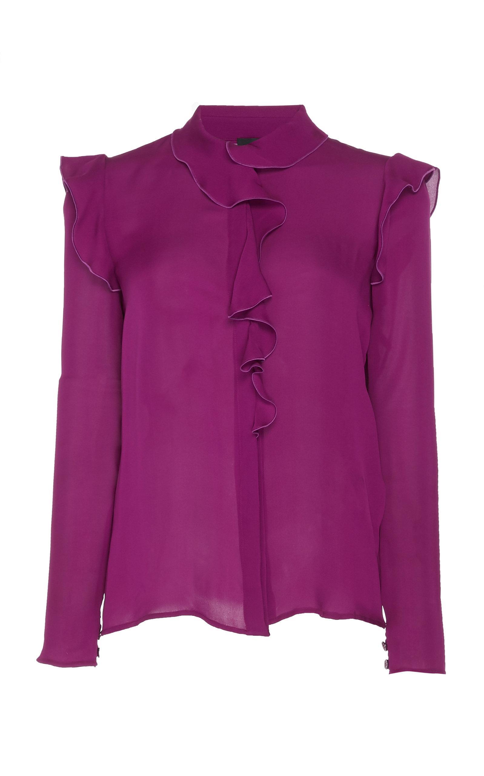 Giambattista Valli Ruffle Silk Blouse In Purple