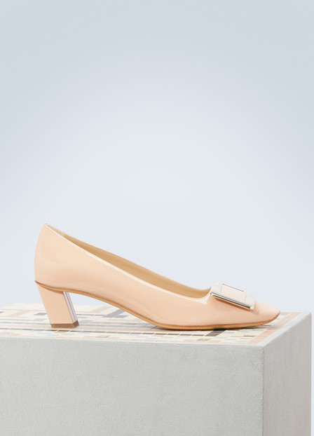 Roger Vivier Decollete Belle Vivier Patent-Leather Pumps In Nude
