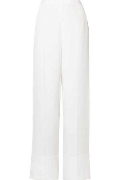 Stella Mccartney Silk Crepe De Chine Wide-Leg Pants In Ivory