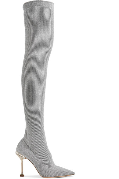 f065cf3dbe3 Miu Miu Crystal-Embellished Metallic Ribbed-Knit Over-The-Knee Sock Boots