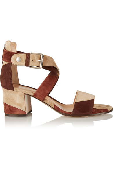 Gianvito Rossi Woman Patchwork Suede Sandals Brown