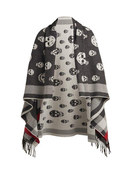 b973c6d2333a7 Alexander Mcqueen - Skull Jacquard Wool And Cashmere Blend Scarf - Womens -  Black