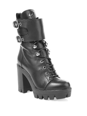 43639fec38f75 Lace-Up Fur & Leather Combat Boots in Nero
