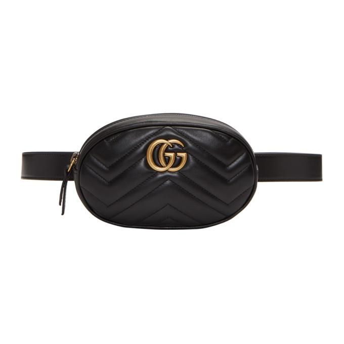 d736d8896af Gucci Black Gg Marmont 2.0 Belt Pouch In 1000 Black