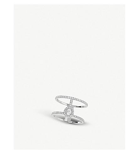 Messika Glam'Azone 2 Rows 18Ct White-Gold And PavÉ Diamond Ring