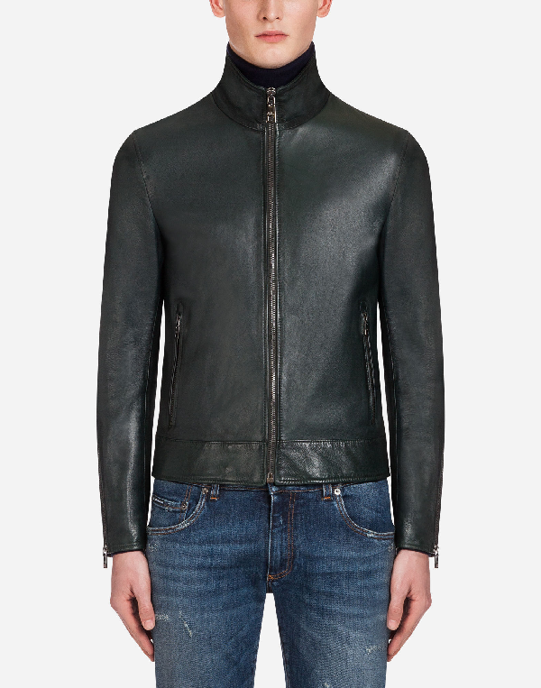 Dolce & Gabbana Leather Jacket In Green