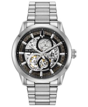 Bulova Men's Automatic Sutton Stainless Steel Bracelet Watch 43mm In Black