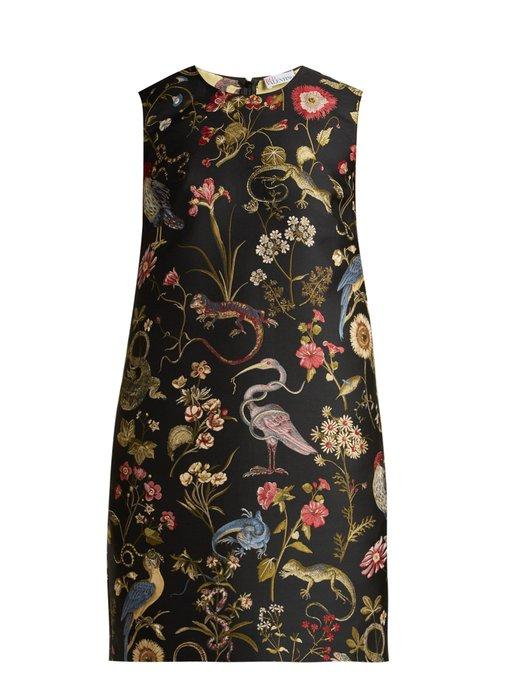 0ca7555624d Red Valentino Floral-Jacquard Shift Dress In Black