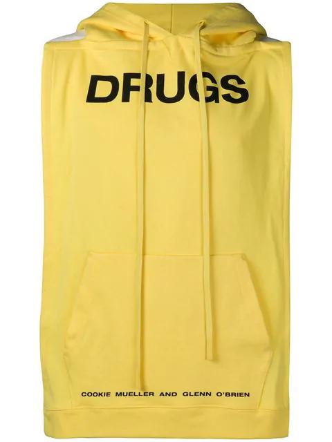 Raf Simons Backless Cotton Jersey Sweatshirt Vest In Yellow