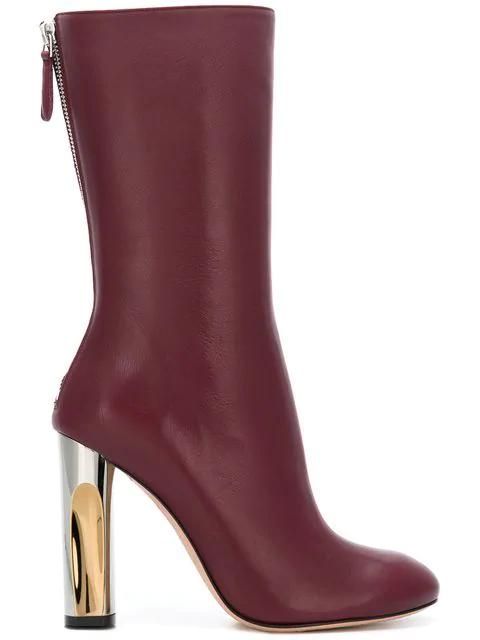 Alexander Mcqueen Metallic Heel Mid-Calf Boots In Red
