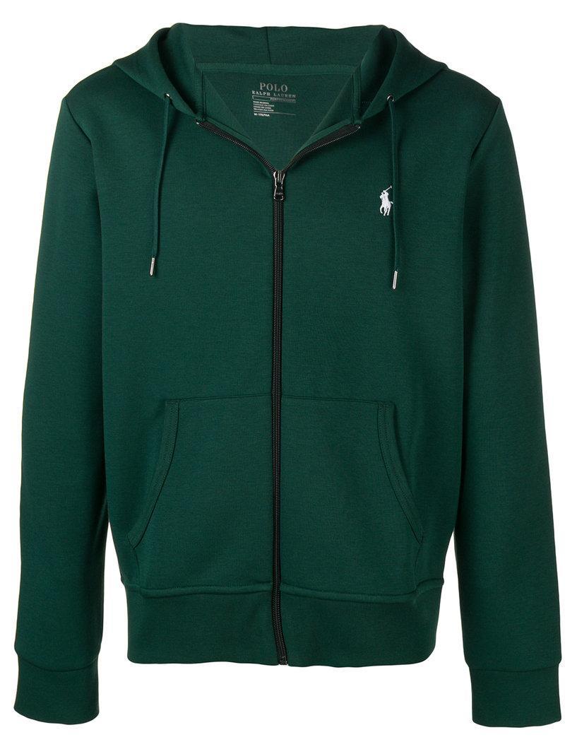 ce5005b5291a5 Polo Ralph Lauren Zip-Through Hooded Cotton-Jersey Sweatshirt In Green