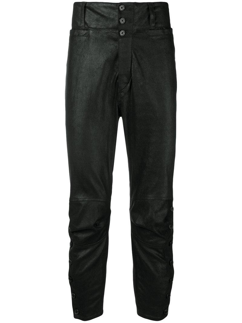Ann Demeulemeester Side-Slits Buttoned Trousers - Black