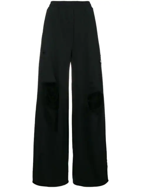 T By Alexander Wang Gerippte Palazzohose In Black