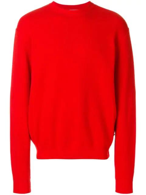 Ami Alexandre Mattiussi Oversize Crewneck Sweater In Red