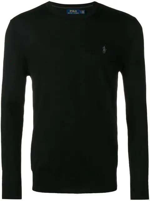 Polo Ralph Lauren Logo-Embroidered Wool Sweater In Black