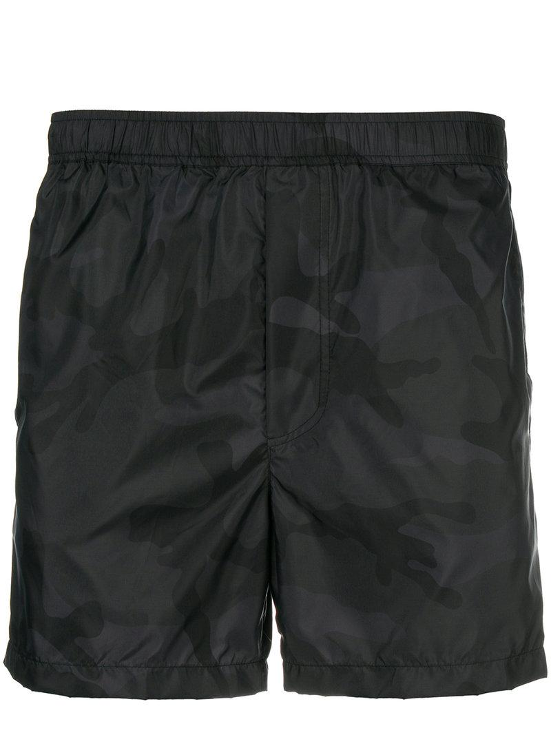 a494b24a70 Valentino Camouflage Print Swim Shorts - Black | ModeSens