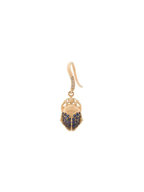 Aurelie Bidermann Scarab Drop Earring In Metallic