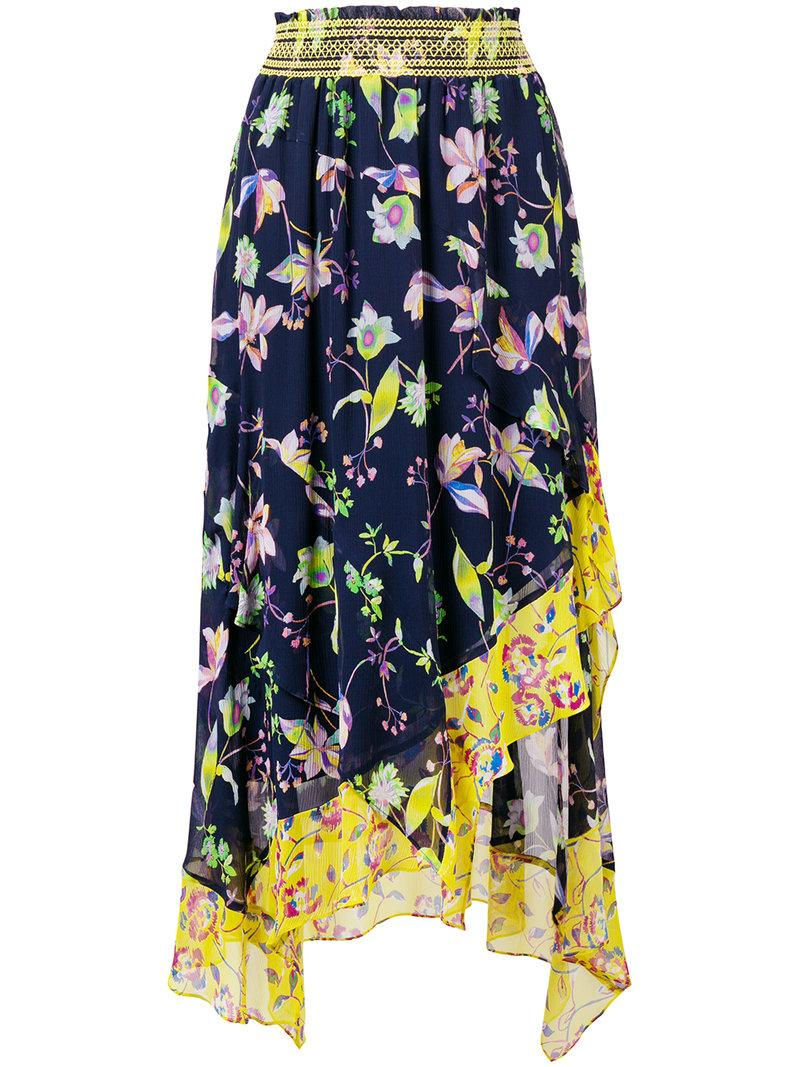 Tanya Taylor Floral Print Asymmetric Skirt