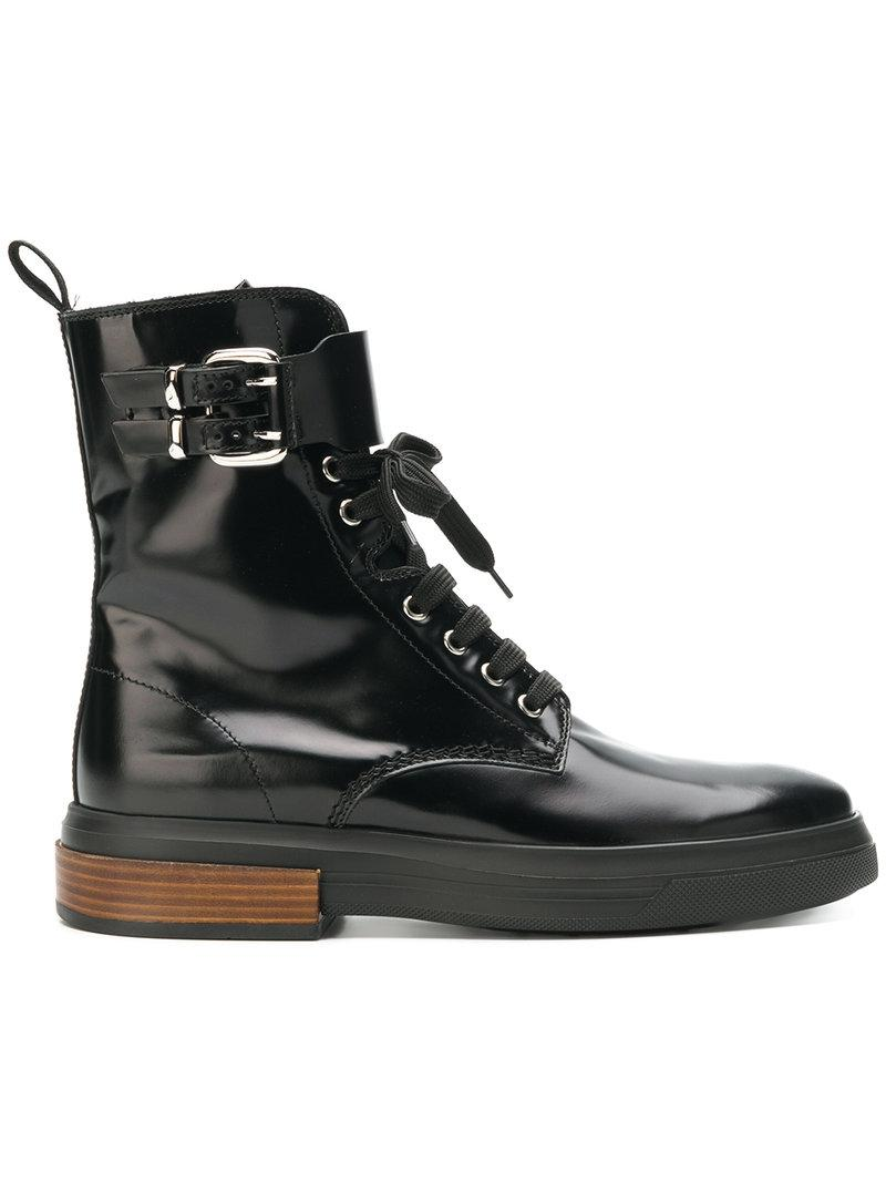 f7cb3b5a64 Tod's High Ankle Lace Up Boots In Black | ModeSens