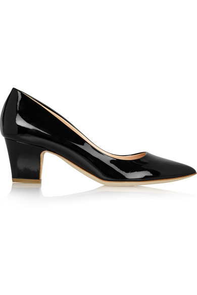 Rupert Sanderson Patent Leather Kitten Heel Pumps In Black