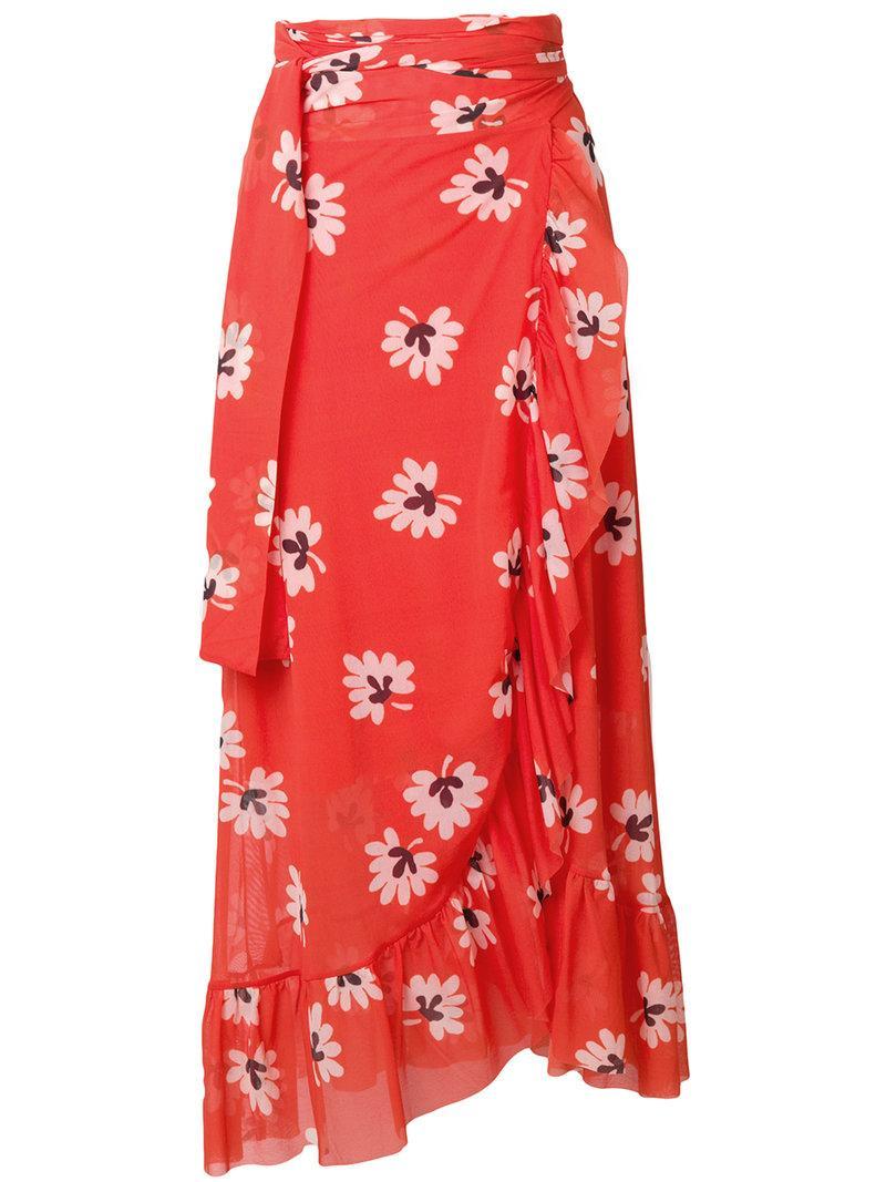 d195feee72f9a7 Ganni - Tilden Floral Print Wrap Skirt - Womens - Red | ModeSens