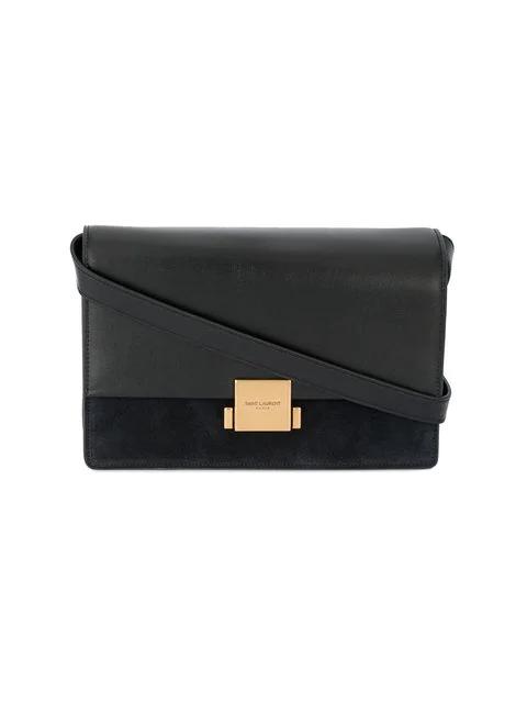 Saint Laurent Medium Bellechasse Suede & Leather Shoulder Bag - Black In 1000 Black