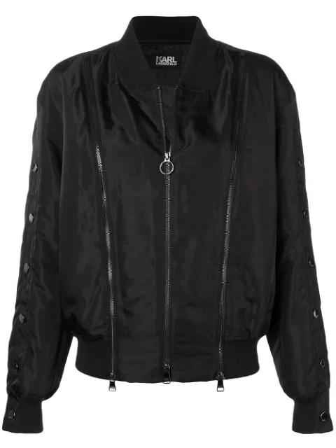 Sleeve Bomber In Jacket Black Snap tQrhds