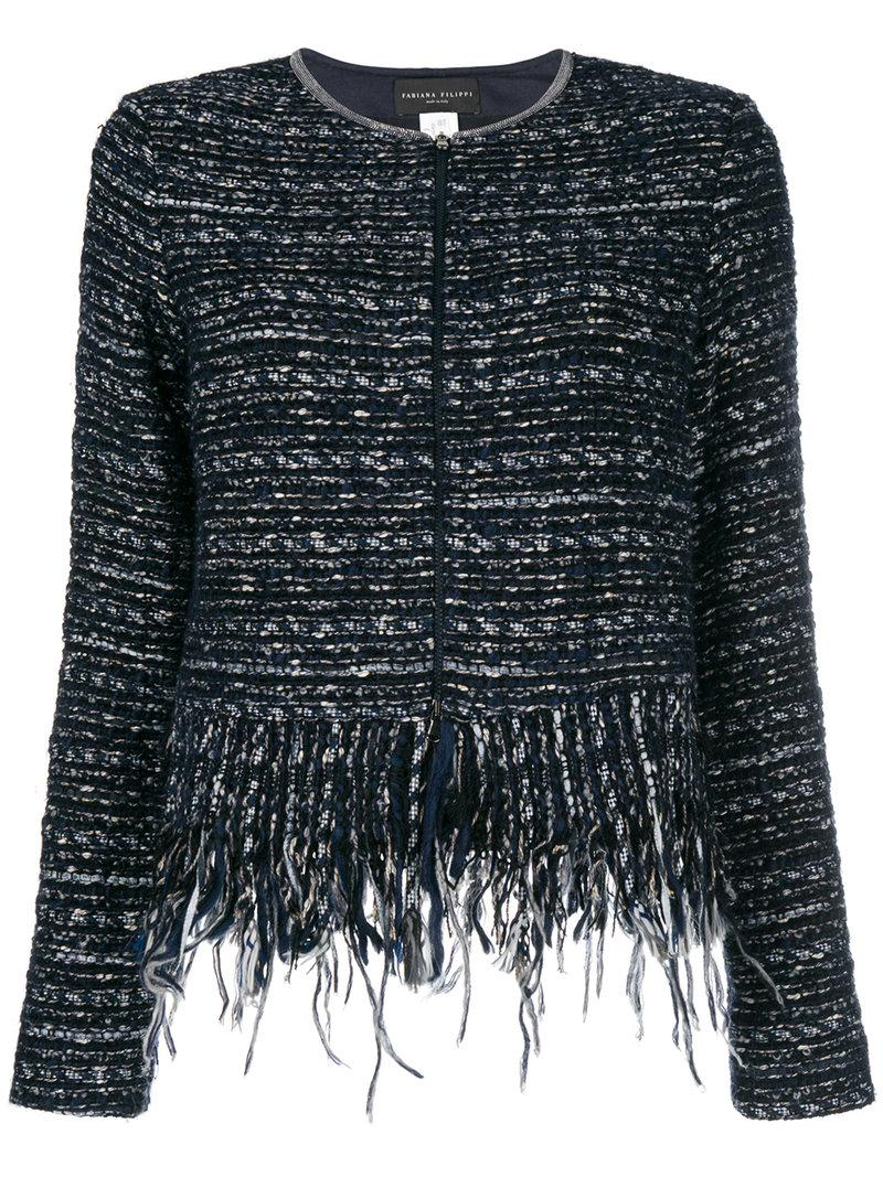 bb42de599f5a6 Fabiana Filippi Fringe Trim Tweed Jacket In Blue