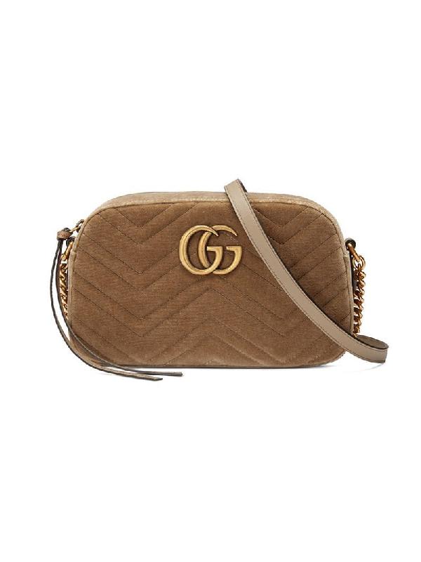e59dd9fa38967f Gucci Small Gg Marmont Velvet Camera Bag In Brown   ModeSens