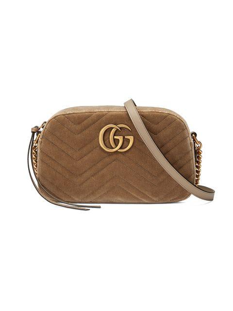 74e18882 Small Gg Marmont Velvet Camera Bag in Brown