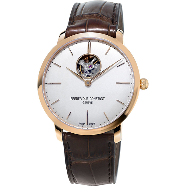 Frederique Constant Fc-312v4s4 Slimline Gold-plated Stainless Steel And Leather Watch In White/brown
