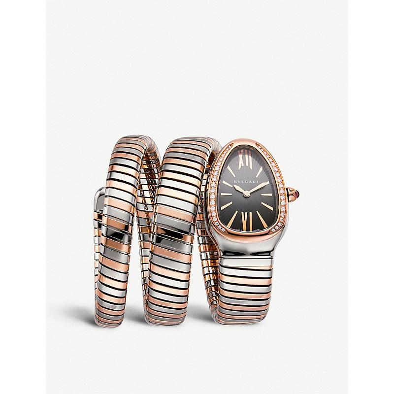Bvlgari Serpenti Tubogas 18ct Pink-gold, Stainless Steel And Diamond Watch