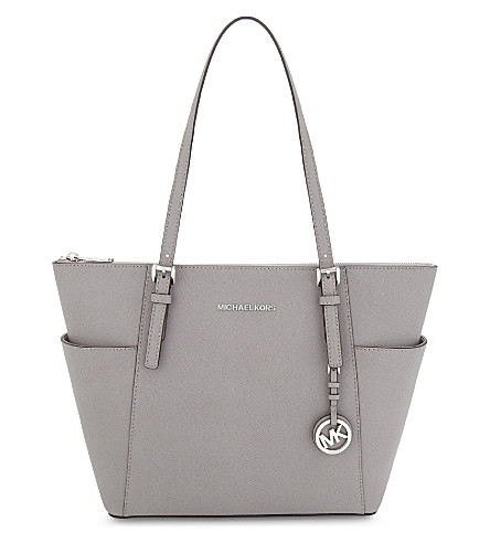 Michael Michael Kors Jet Set Leather Trapeze Tote In Pearl Grey