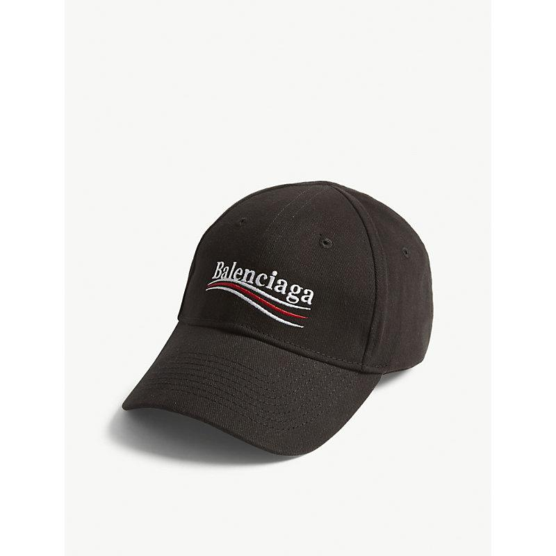 24caf249dccb74 Balenciaga Bernie Logo Cotton Strapback Cap In Black/White | ModeSens