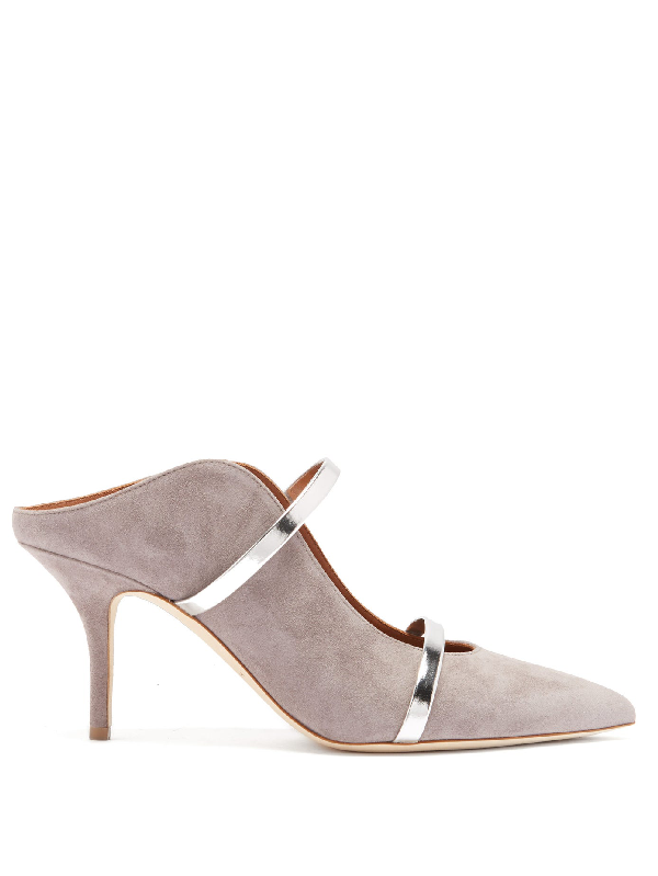 Malone Souliers Maureen Strappy Suede Mules In Grey/Light
