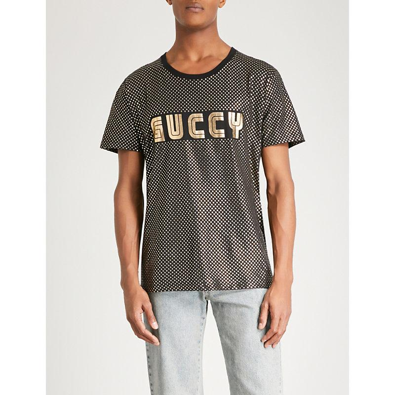 369dc015 Gucci Guccy-Print Metallic Cotton-Jersey T-Shirt In Black | ModeSens