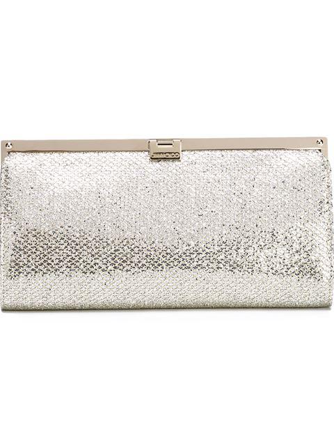 Jimmy Choo Camille Champagne Glitter Fabric Clutch Bag