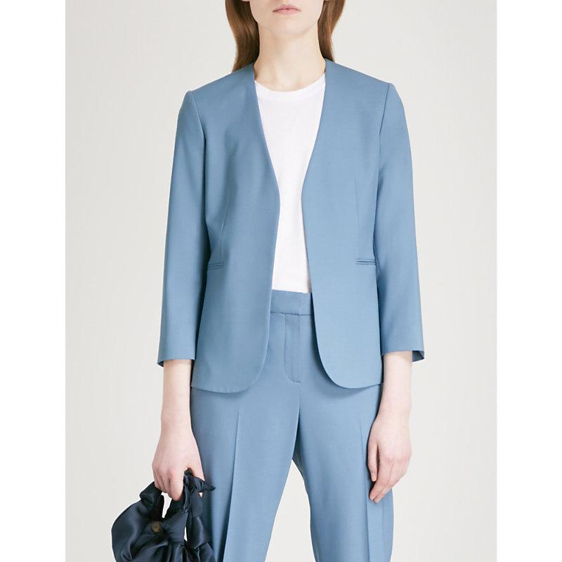 acc3ffe84c16 Theory Lindrayia Cropped Stretch-Wool Jacket In Blue Willow | ModeSens