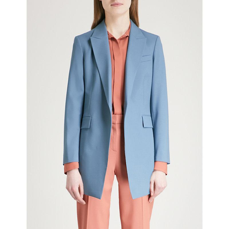 84311d8908b2 Theory Etiennette Stretch-Wool Jacket In Blue Willow | ModeSens