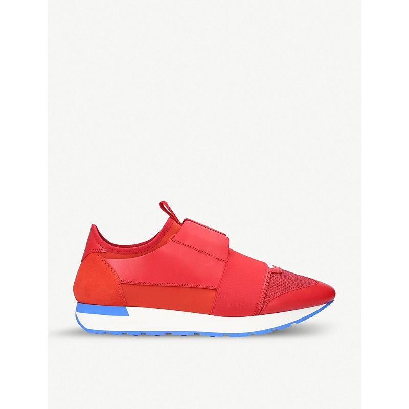 Balenciaga Race Runner Red Panelled Trainers In Red/dark