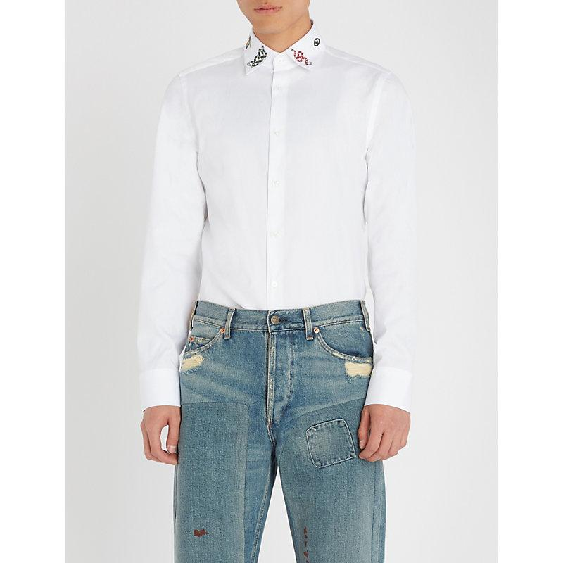 Gucci Embroidered Collar Regular-Fit Cotton Shirt In White
