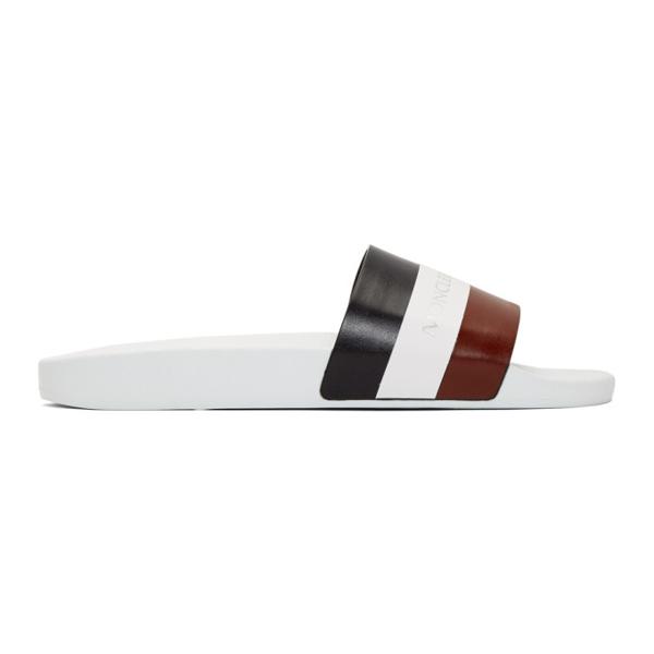 Moncler Basile Tricolour Band Slide Sandals In White