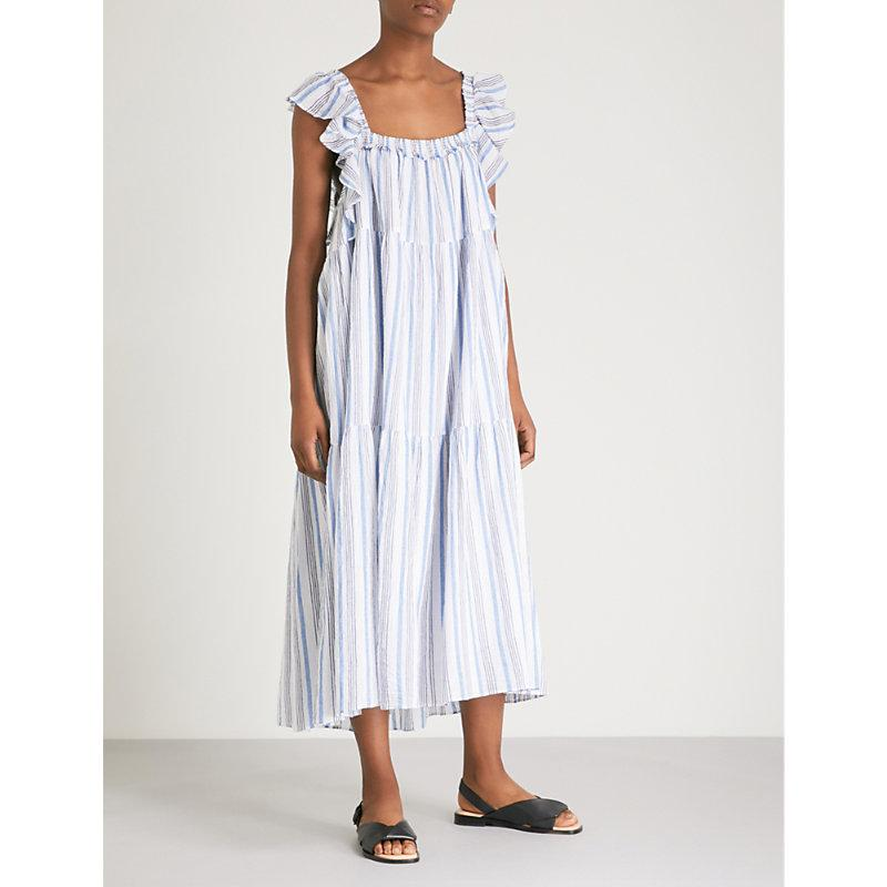 Apiece Apart Ossetia Striped Cotton-Gauze Midi Dress In Seaside Stripe