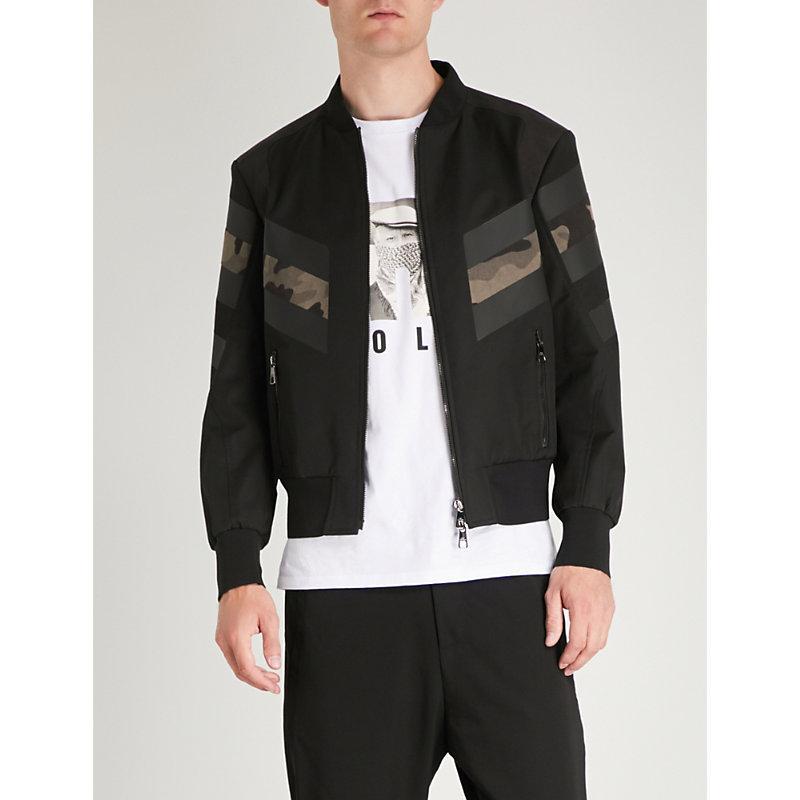 b5dc637fa8601 Neil Barrett Camouflage-Print Shell Bomber Jacket In Black | ModeSens