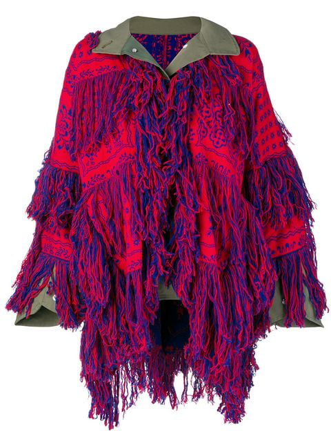 Sacai Floral-Pattern Fringed Wool Jacket In Red